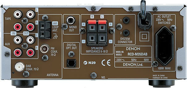 The rear of the Denon DM-35 main unit