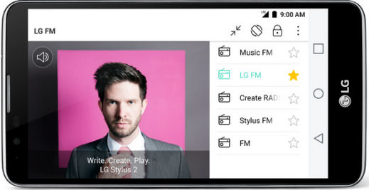 LG Stylus 2 receiving FM and DAB radio stations