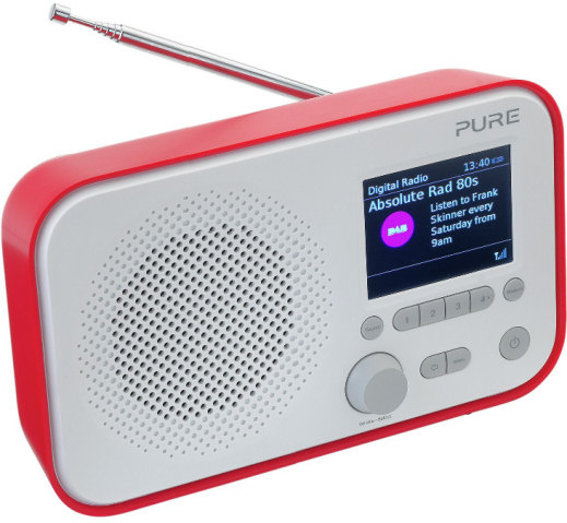 Pure Elan E3 DAB digital radio available in red blue and grey colours
